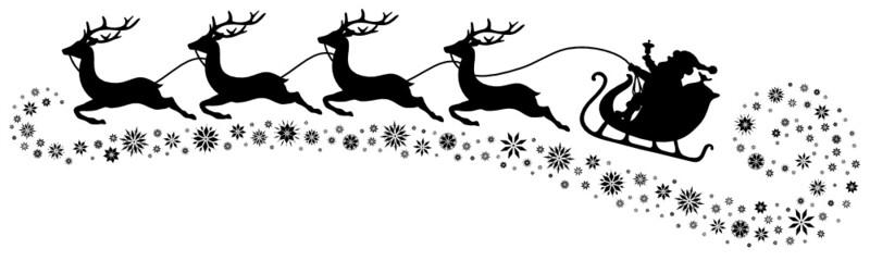 Christmas Sleigh, 4 Flying Reindeers & Snowflakes