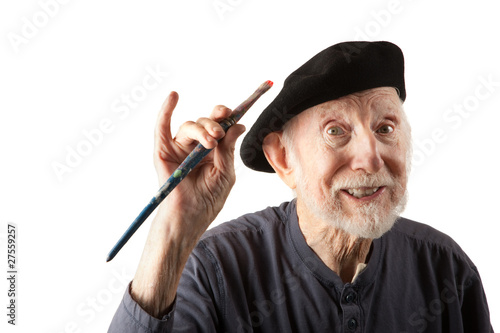 Senior artist with beret and brushes