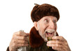 Russian Man in Fur Cap with Vodka