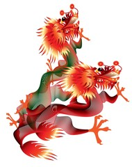 Two chinese dragons on white background