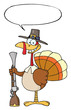 Happy Turkey With Pilgrim Hat and Musket With Speech Bubble
