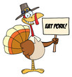 Pilgrim Turkey Holding A Blank Sign