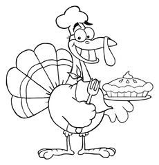 Outlined Happy Turkey Chef With Pumpkin Pie