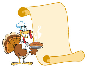 Happy Turkey Chef With Pie And Scroll