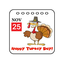 Thanksgiving Holiday Event Cartoon Calendar Vector
