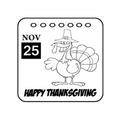Thanksgiving Holiday Calendar Black And White