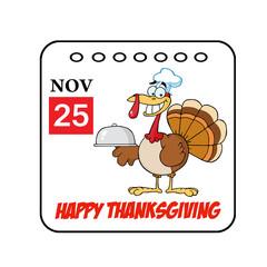 Thanksgiving Holiday Cartoon Calendar Vector
