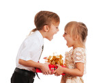Children with gift box - Fine Art prints