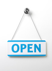 process blue open door sign on a silver chain on a white backgro