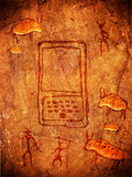 prehistoric cave paint with hunters and handheld computer poster