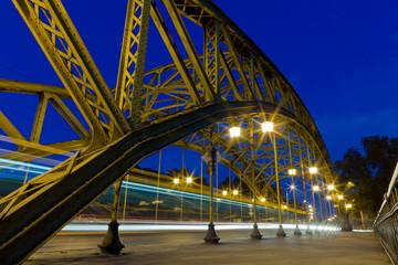 Night traffic over a bridge