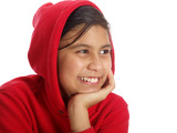 smiling girl with hand on chin - Fine Art prints