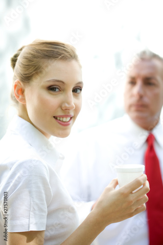 Woman during the business meeting