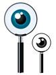 Magnifying glass and eyeball