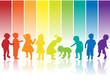 kinder silhouette regenbogen - 27571059