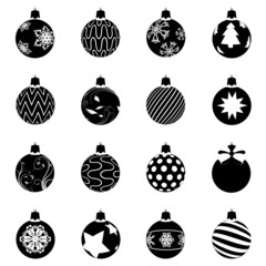 black christmas ball set