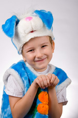 Funny boy in a rabbit costume