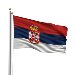 Flag of Serbia waving in the wind in front of white background