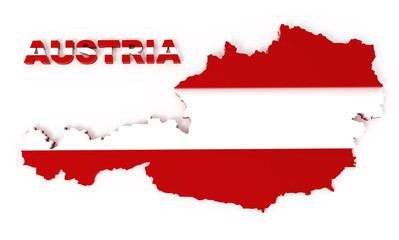 Austria, map with flag, isolated on white, clipping path