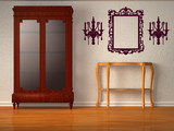Cupboard with wooden table and silhouettes poster