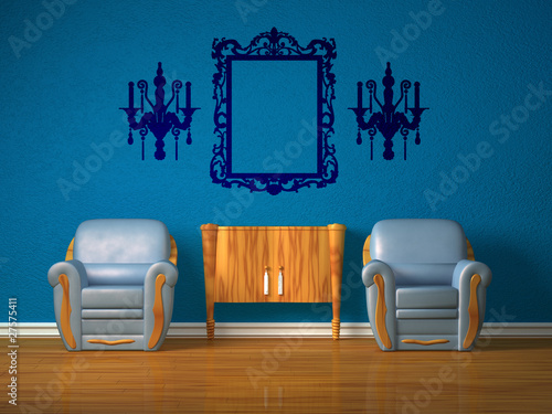 Two chairs with wooden console and silhouette of mirror