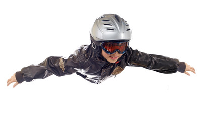 boy flying on air isolated on white