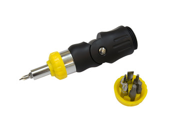 Screwdriver with set of nozzles