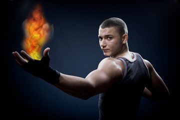 young boxer with fire