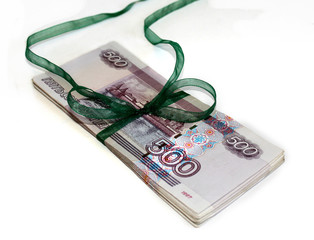 russian money on the white fon