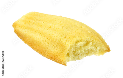 Madeleine cookie that has been bitten