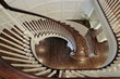 Spiral staircase with wood railing
