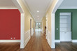 Hallway and rooms with multicolored walls