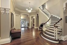 """Постер, картина, фотообои """"Foyer with curved staircase"""""""