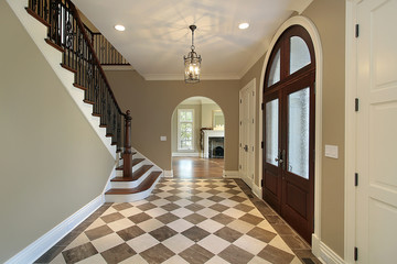 Foyer with checkerboard floor