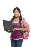 Hispanic college student girl with laptop, backpack - Fine Art prints