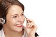 Call Center Telefonistin telefoniert freudlich mit Headset