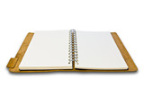 white leather case notebook isolated
