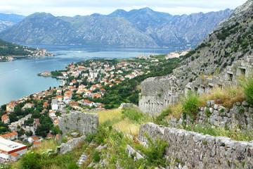 Summer bird-eye view of Kotor, Montenegro