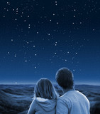 Couple under starry sky