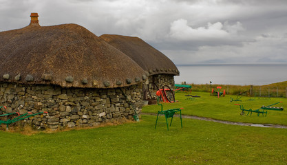 Isle of Skye: museum with old huts and carts in nature near the