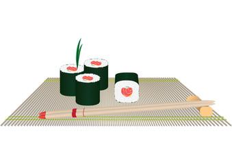 Rolls and chopsticks on a straw cloth