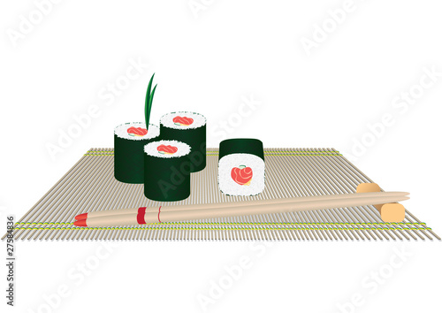 Rolls and chopsticks on a straw cloth