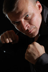 angry man boxing