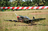 RC remote control war bird plane on field