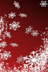Schneeflocken auf rotem Hintergrund in 3D