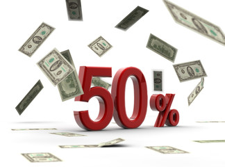 Red 50 percentage with money