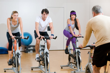 Spinning exercises with instructor