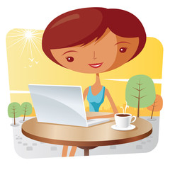 girl with a laptop and a coffee