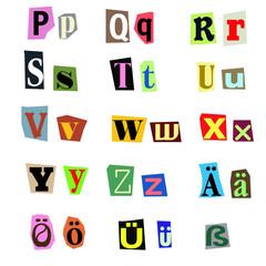 Alphabet aus Zeitungsausschnitten P-Z