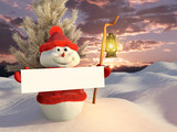 Fototapety Pupazzo di neve con cartello bianco e lanterna